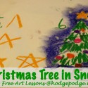 Christmas Tree in Snow Chalk Pastel Tutorial at Hodgepodge