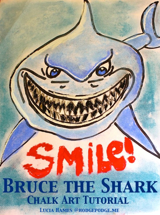 Bruce the Shark Chalk Art Tutorial