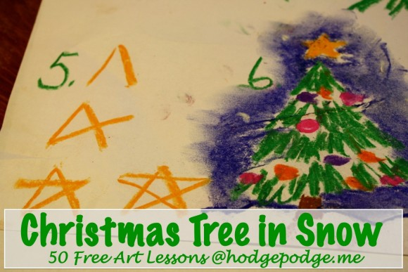 Christmas Tree in Snow art lesson. Just six simple steps, starting with the colors above. A fun Christmas art project for all ages!