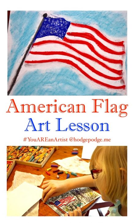 Any time is a great time for a patriotic art project. Flag Day, Memorial Day, Independence Day and Veteran's Day. You can create a beautiful American flag any time of the year with this American Flag Chalk Pastel Art Tutorial!