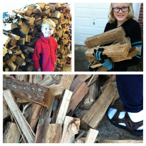stacking firewood for homeschool PE