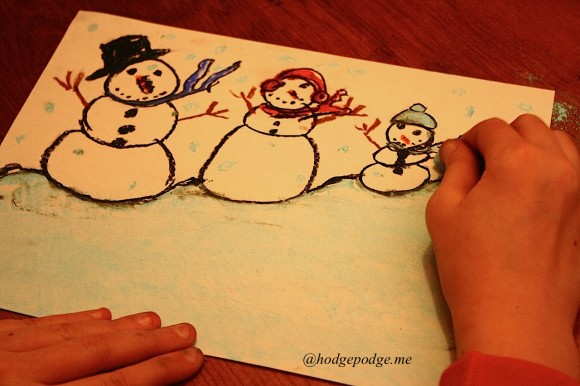 snowman family in chalk pastels www.hodgepodge.me