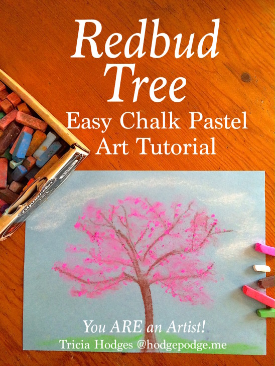Redbud Tree Chalk Pastel Art Tutorial - beautiful spring color in a simple tutorial you and your artists can complete in about 5-10 minutes!