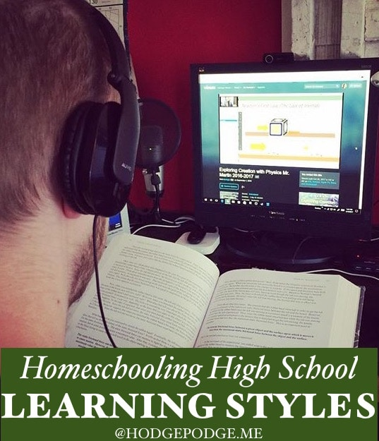 Homeschooling High School - I'm grateful for such a thing as homeschool high school learning styles and being able to meet the needs with curriculum and schedules.